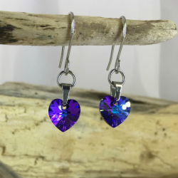 Blue heart earrings hanging 250x250